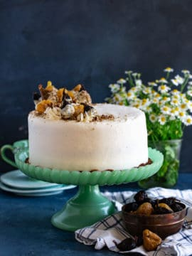 Hummingbird Cake with dried figs and pineapple flowers