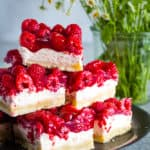 plated raspberry cream cheese layer bars