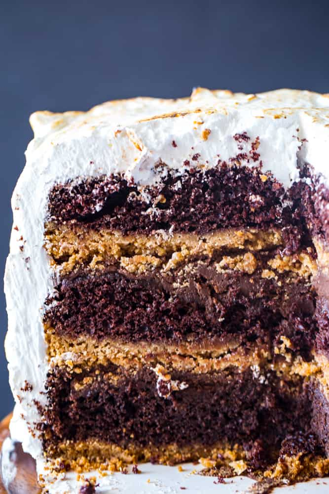 S'mores Cake- chocolate cake with graham cracker bottom and marshmallow frosting
