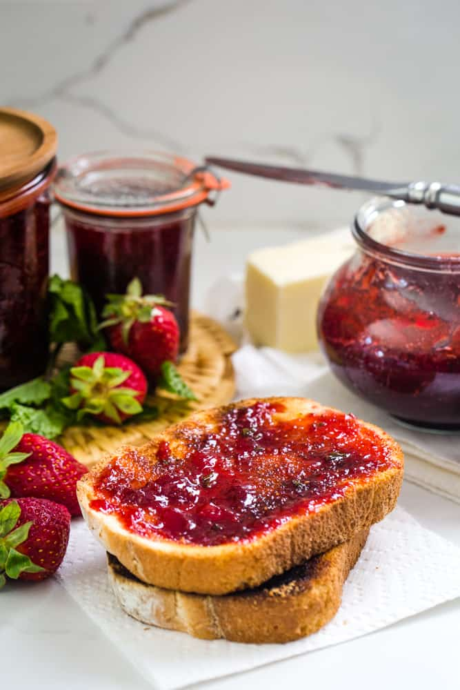 easy strawberry mint jam