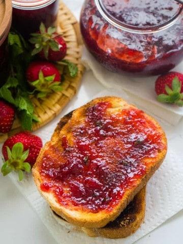 easy strawberry mint jam