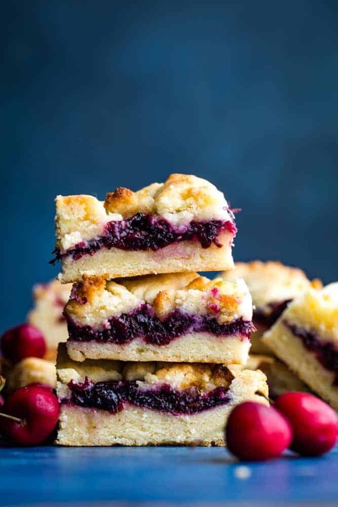 stack of cherry almond pie bars