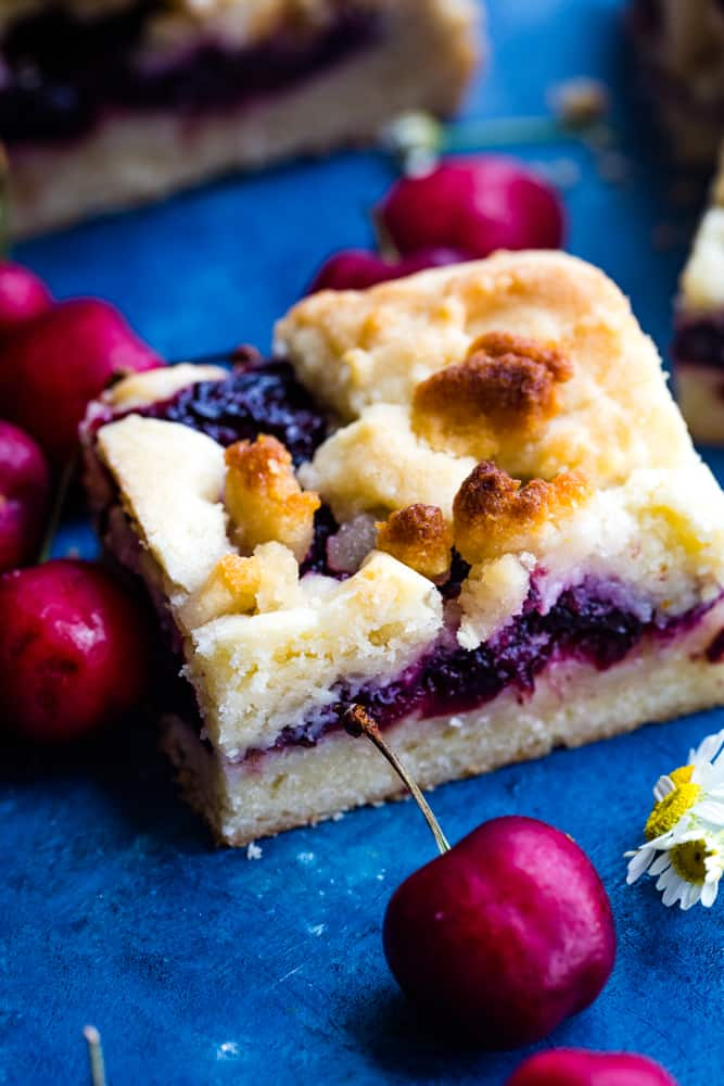 square cut of cherry pie bars