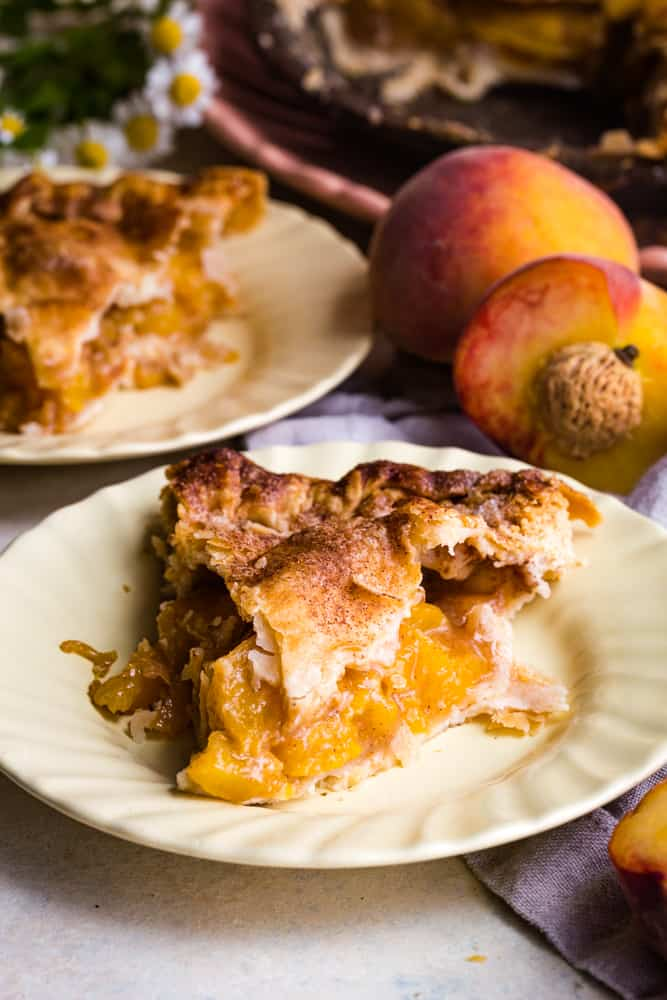 Caramel Peach Pie slice