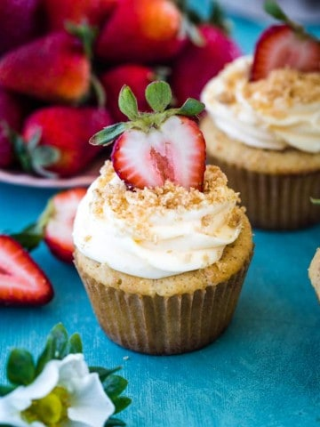cupcake with strawberry and frosting