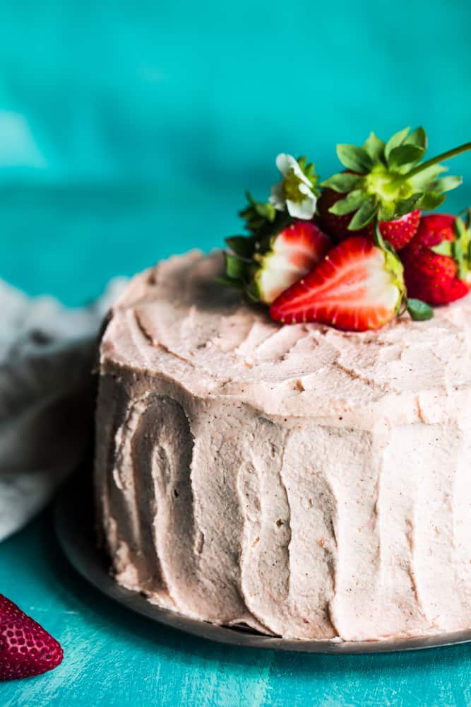 Pink strawberry cake with rhubarb