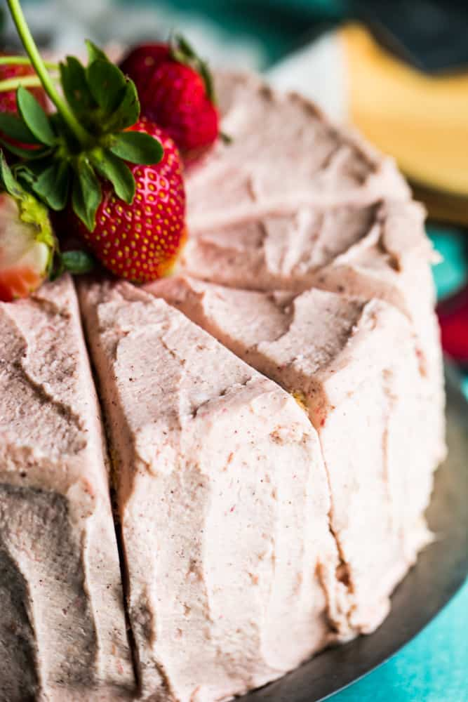 Slices of strawberry rhubarb cake