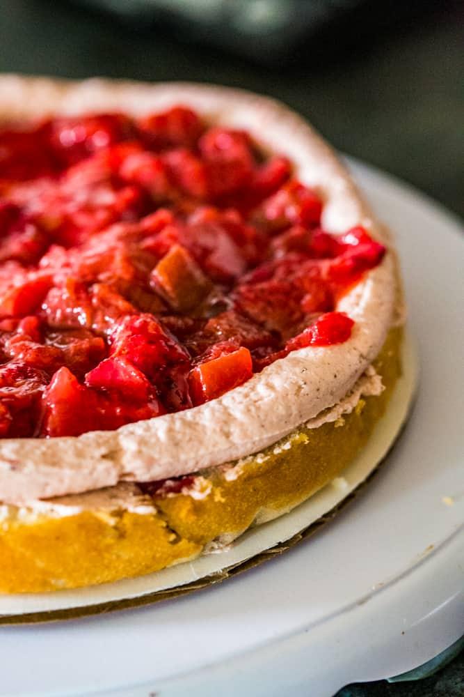 strawberry rhubarb filled layer cake