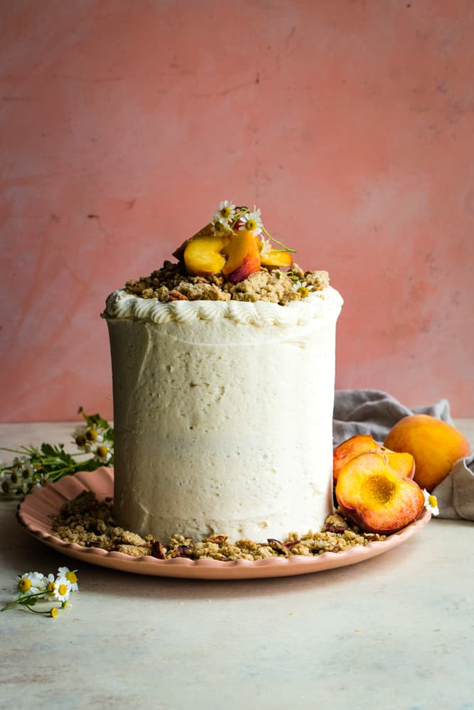 whole top of peach layer cake