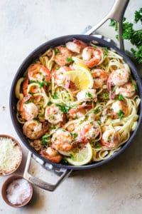 shrimp scampi in a pan