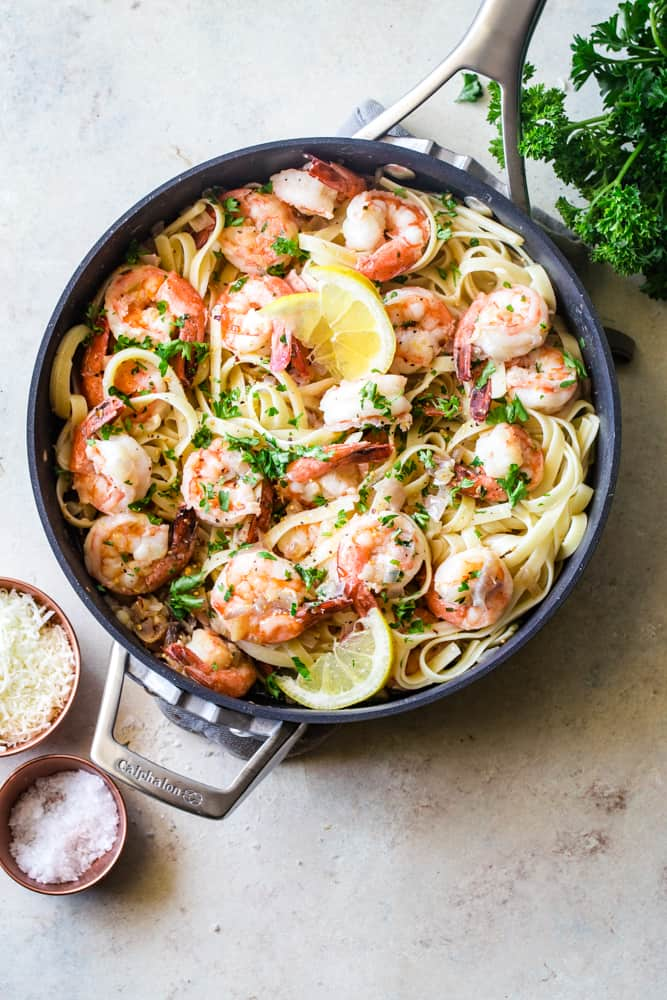 shrimp scampi in the pan