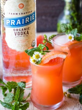 mint grapefruit vodka cocktail with vodka bottle
