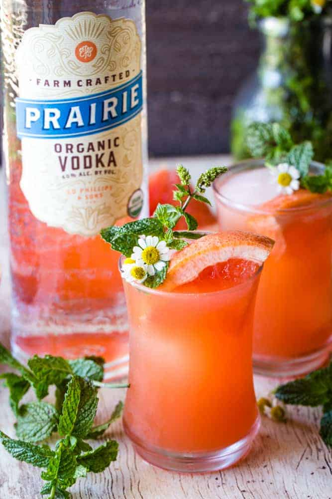 mint grapefruit vodka cocktail with vodka bottle