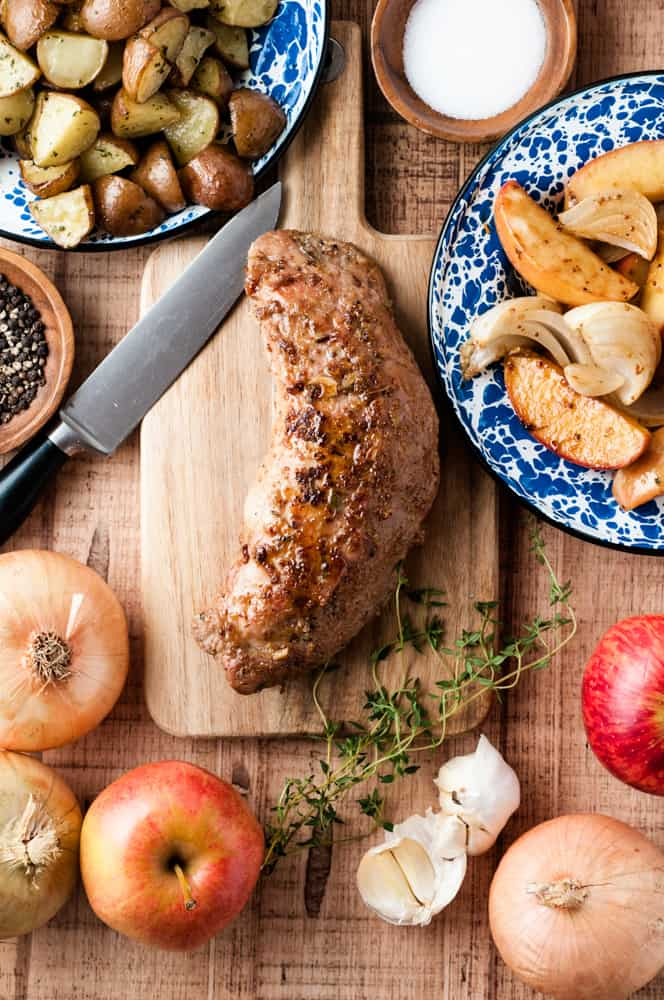 whole cooked pork tenderloin with apples