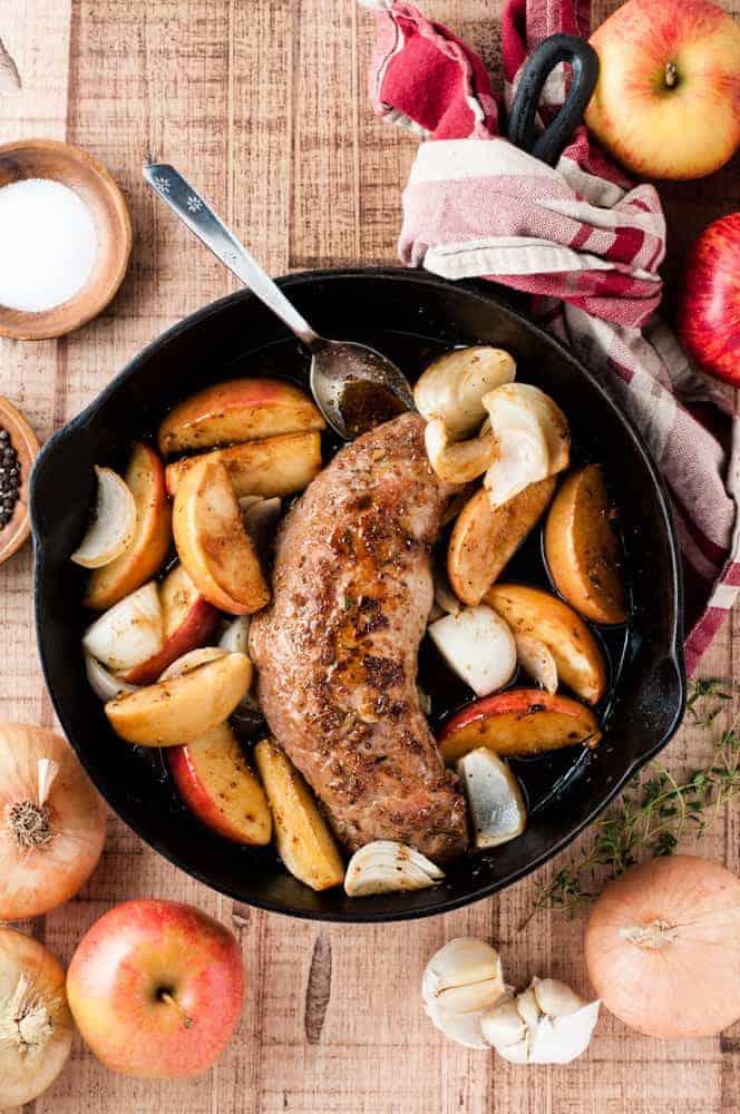 pork tenderloin in pan with apples