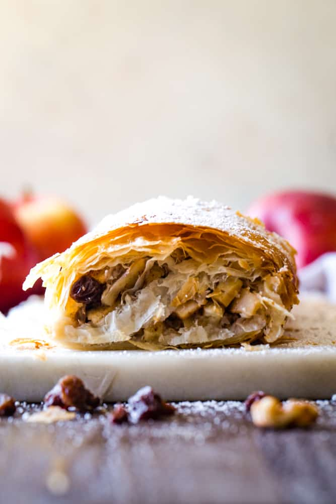 inside of the apple strudel with phyllo dough