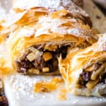 slices of apple strudel with phyllo dough and log