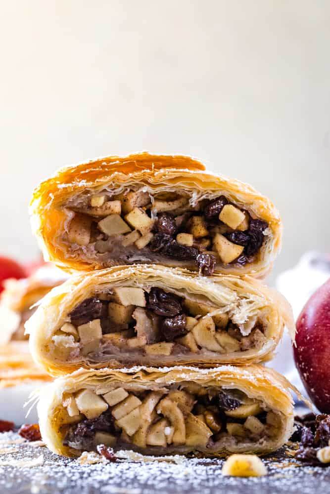 stacked slices of apple strudel with phyllo dough