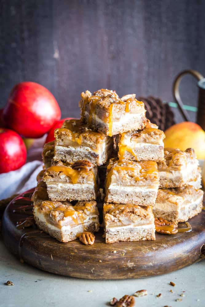 caramel apple cheesecake bars on plate