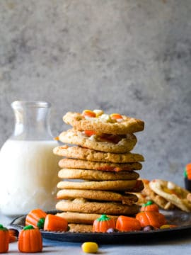 Candy Corn White Chocolate Cookies stacked