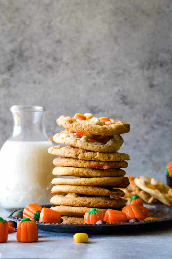 Candy Corn Cookies stack with milk