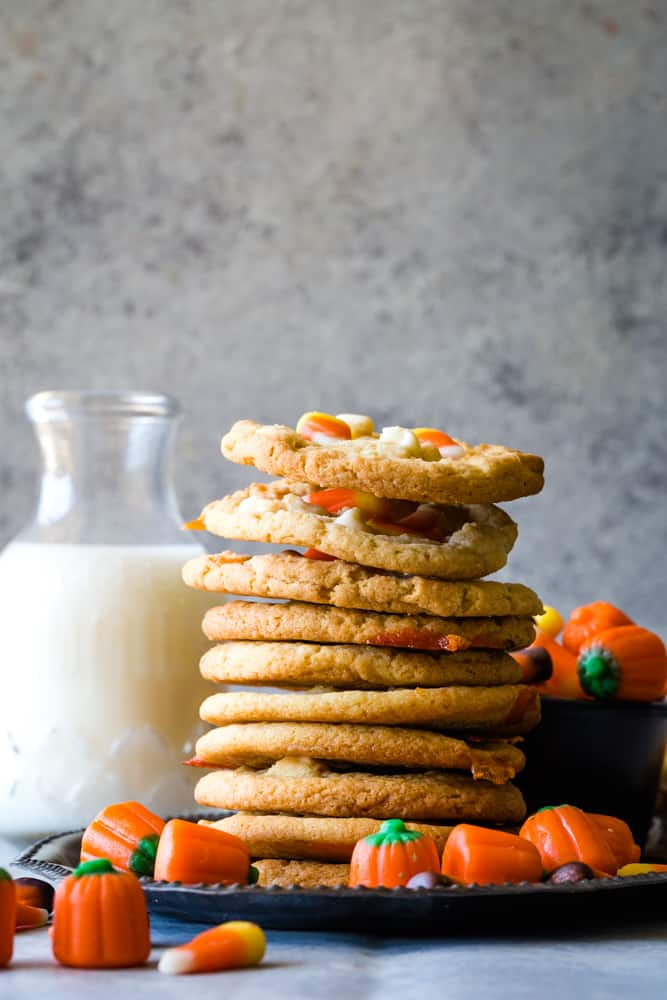 Candy Corn Cookies with white chocolate chips stacked