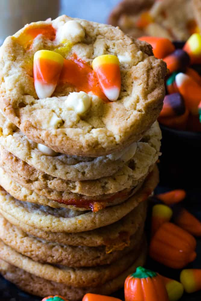 stack of Candy Corn Cookies