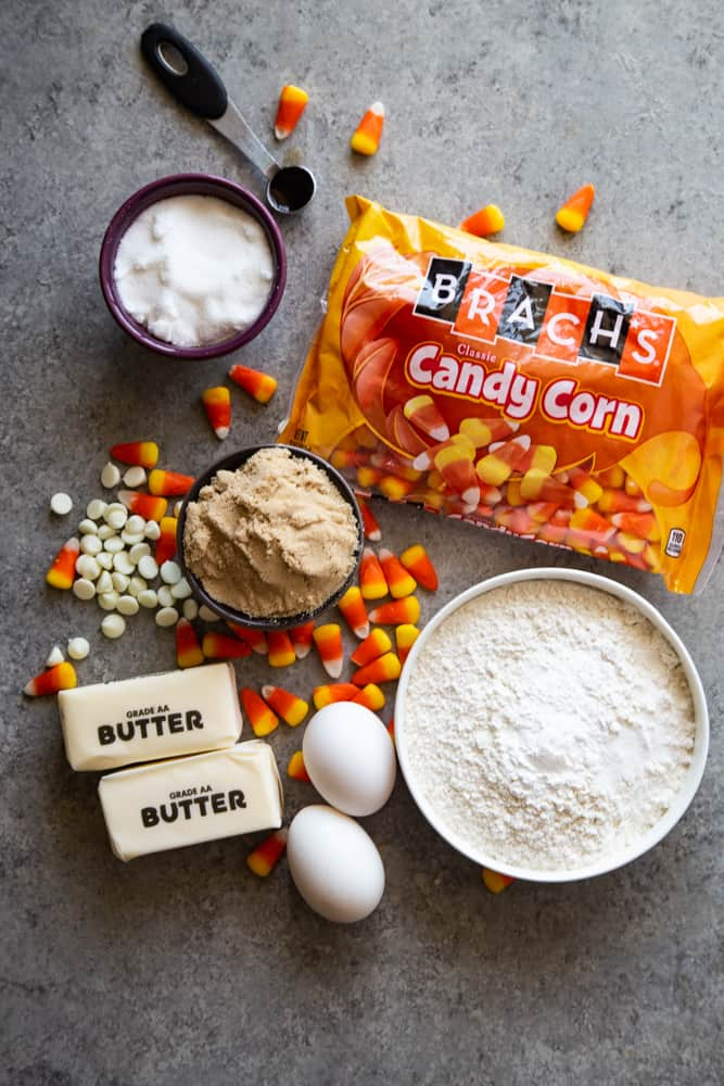 ingredients for Candy Corn Cookies
