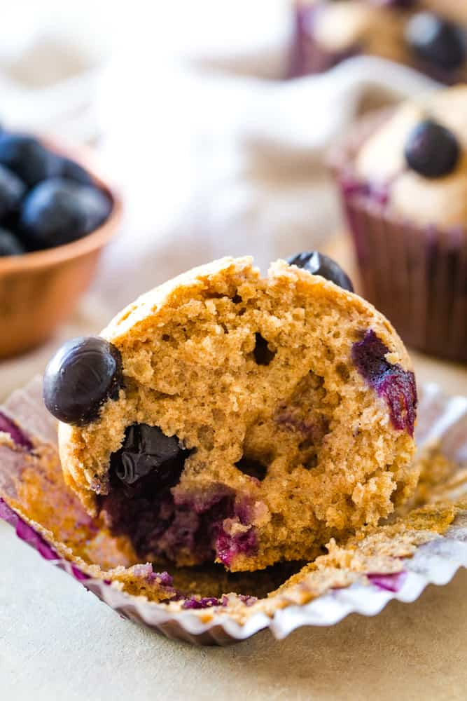 inside of low fat blueberry muffins