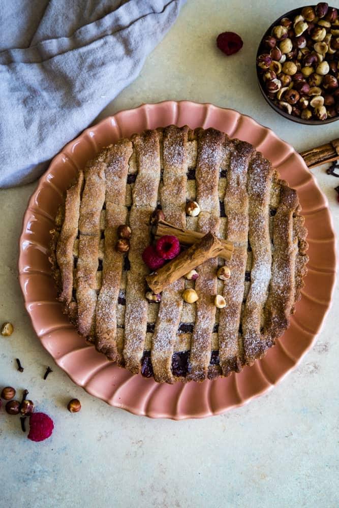 linzer torte recipe overhead shot on serving plate