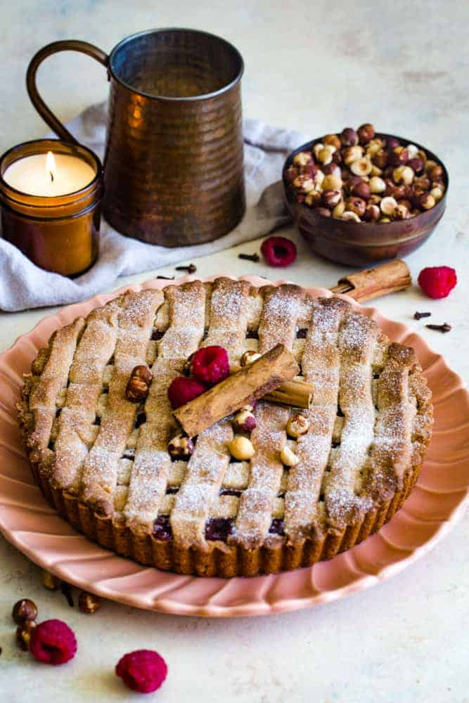 linzer torte recipe on serving plate
