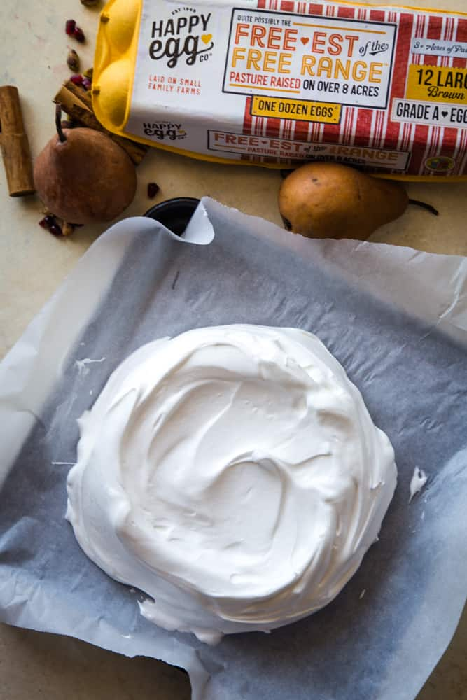 the pre-baked pavlova with pomegranate pears