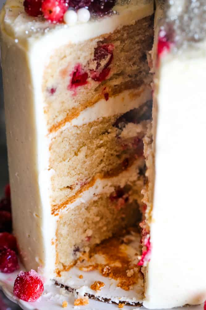 cranberry christmas cake cut and inside view