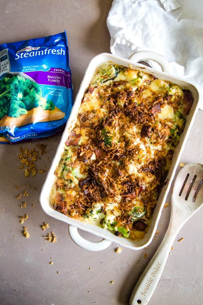 gruyere broccoli casserole with bag of frozen broccoli