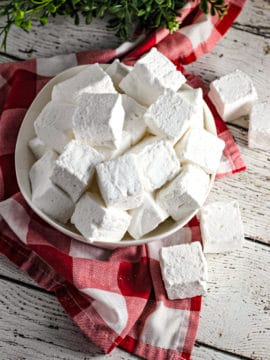 white plate of homemade vanilla marshmallows