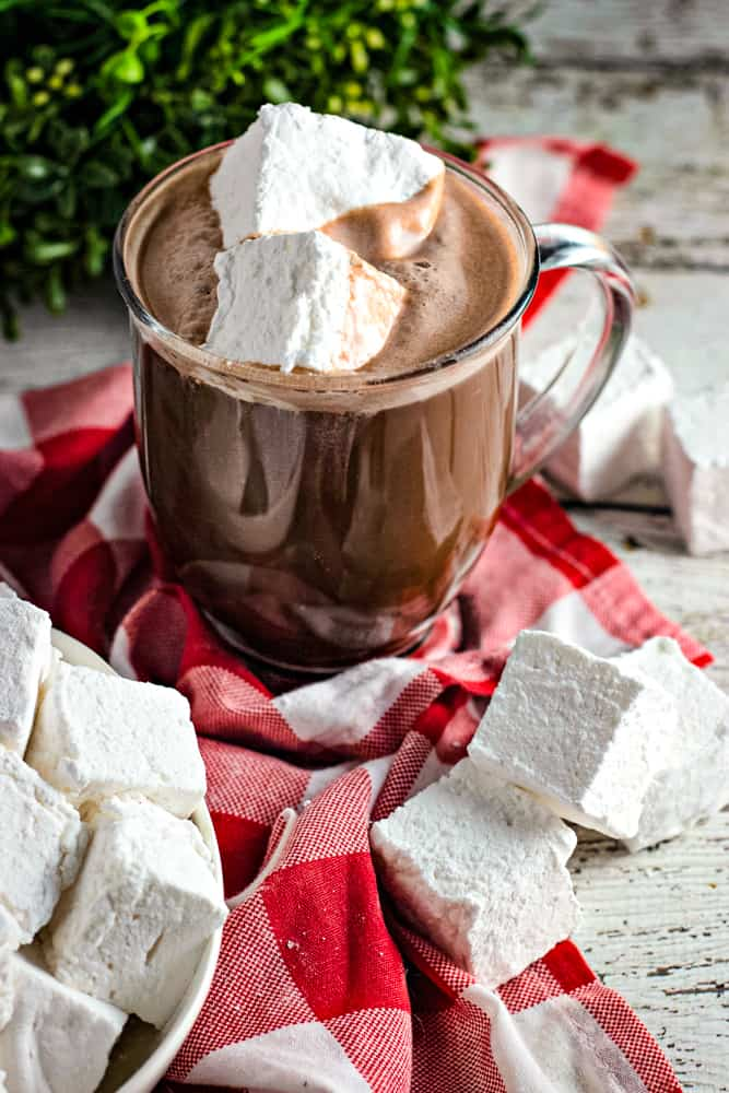 homemade vanilla marshmallows in cup of hot chocolate