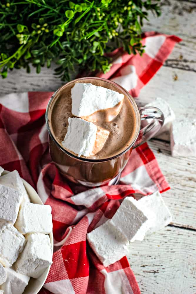 fresh marshmallows in a cup of hot cocoa