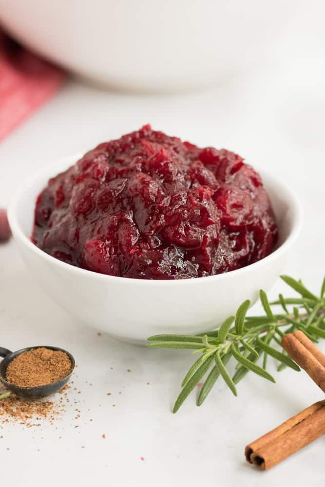 bowl of leftover cranberry sauce for coffee cake