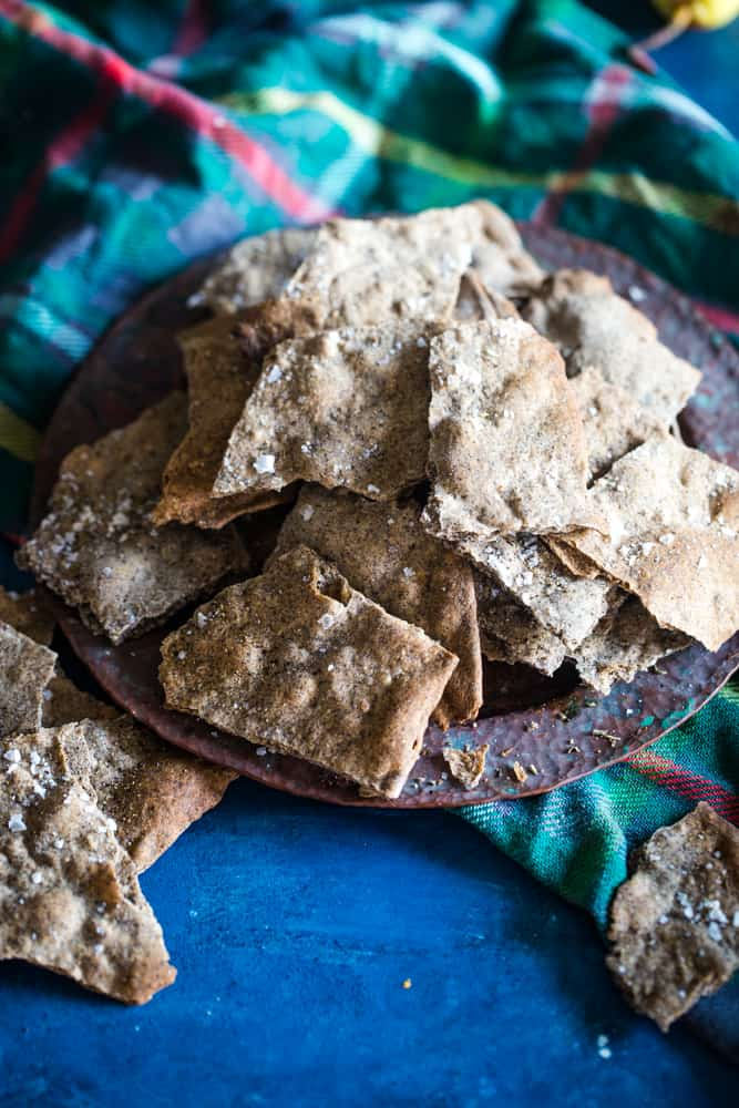 plate of buckwheat crackers