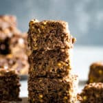 chocolate peanut butter squares cut and stacked