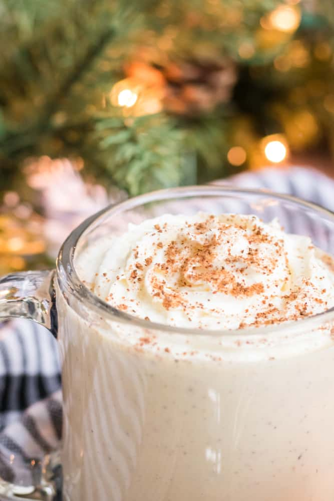 whipped cream topped classic eggnog