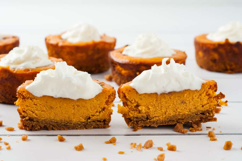 cut in half mini pumpkin cheesecakes