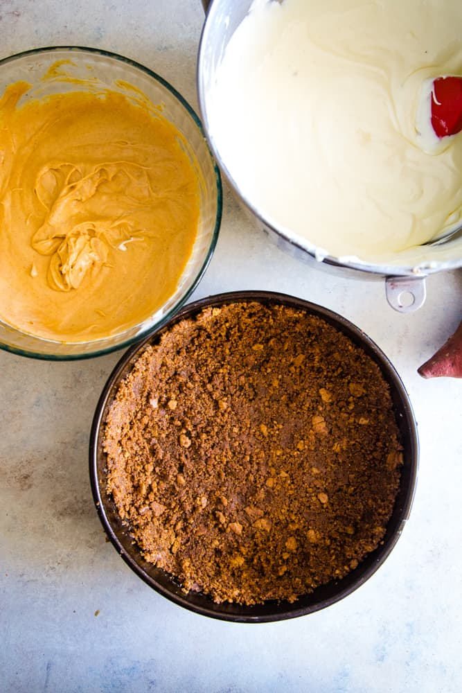 crust and filling for sweet potato swirled cheesecake