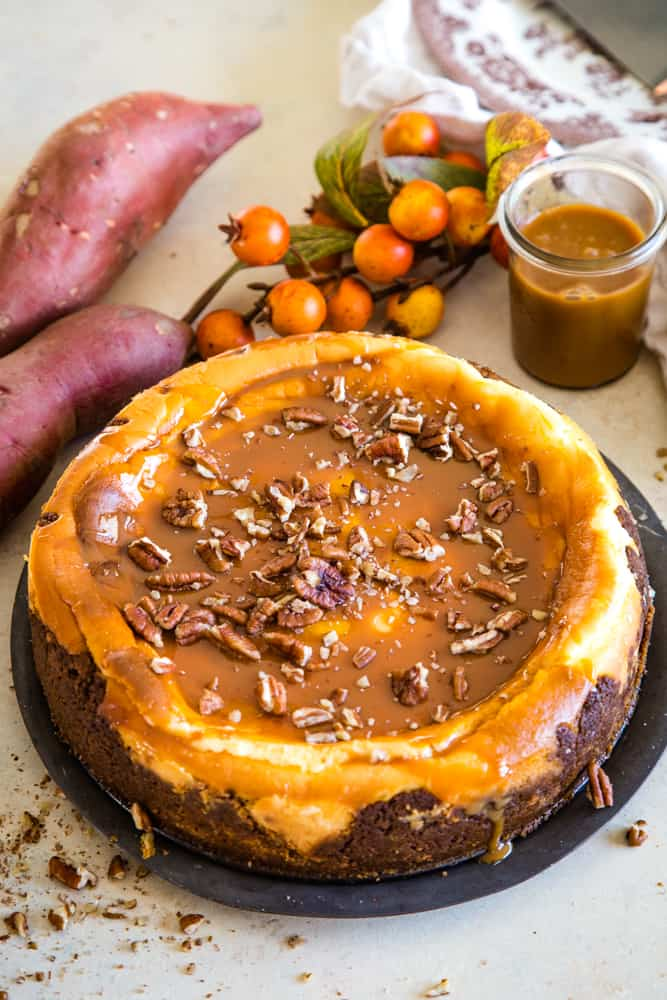 sweet potato swirled cheesecake on plate