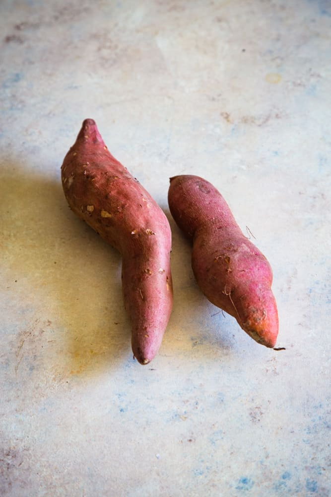 two sweet potatoes