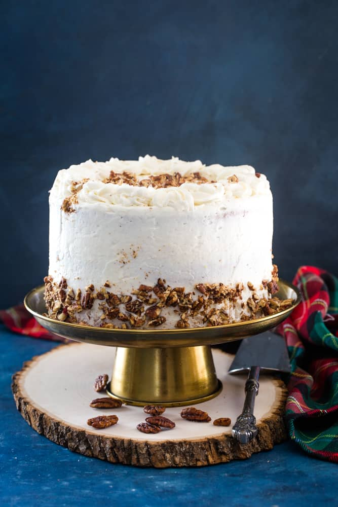 eggnog layer cake on gold  cake plate