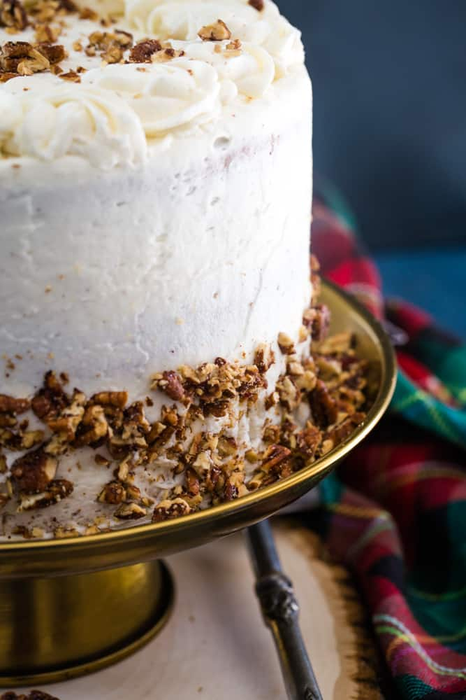 candied pecans on eggnog layer cake