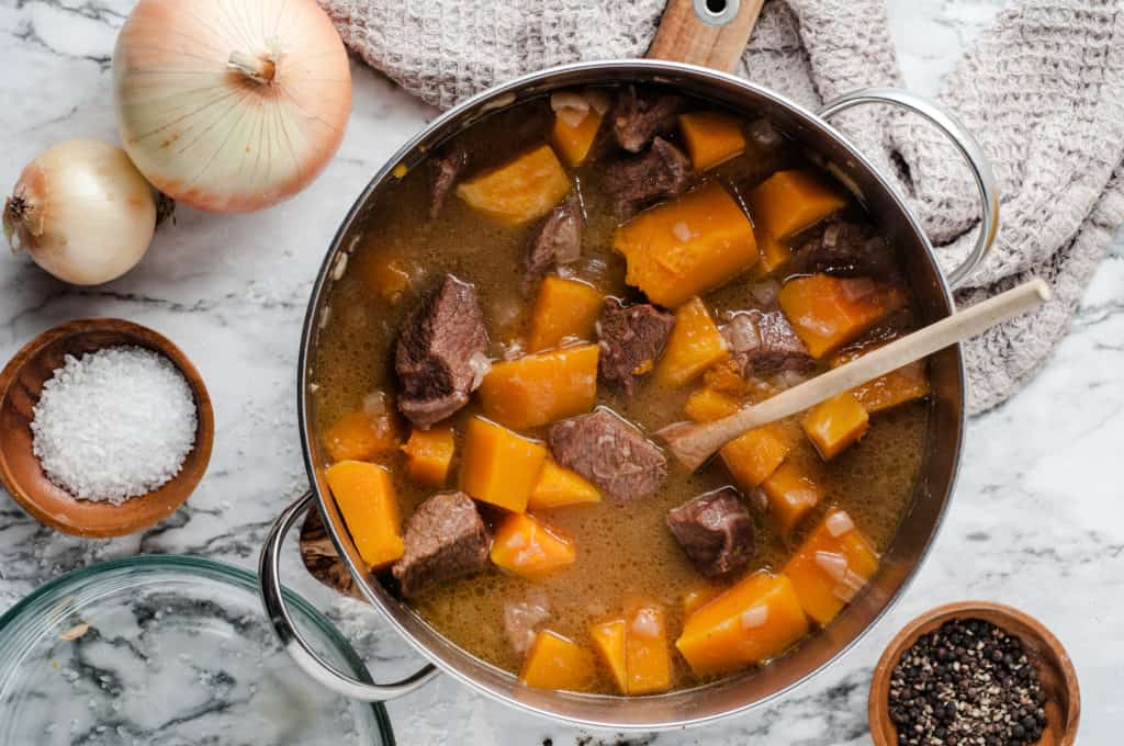 pot of butternut squash beef stew