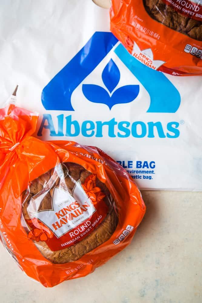 kings hawaiian bread with albertsons bag