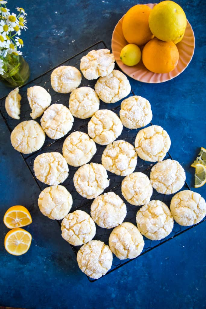 rack of lemon bar cookies on a blue background